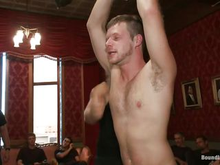 A gang of lascivious gay males is playing with this powerless man and having heartless joy out of it. Watch how this stud is fastened up to the ceiling and the males are teasing him at will. This stud is blindfolded and getting his hard knob sucked and jerked. Looks like there are greater quantity to com and this time this stud is getting it harder!