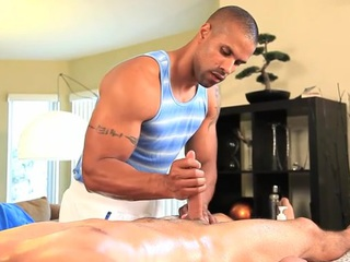 Homosexual masseur is giving chap a wild oral-job session