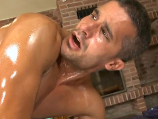 Hunk acquires lusty anal drilling during massage