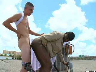 Indeed lustful white stud fucking his enjoyable black ally in his arse and face hole
