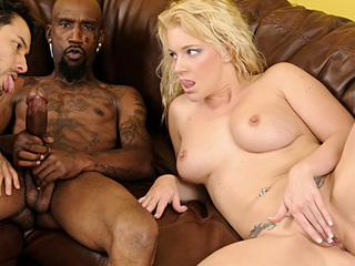 Nice-looking golden-haired & her husband getting fucked by a Massive schlong