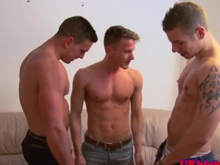 British homo jock threeway creamy ending