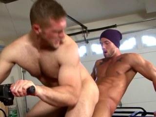 Hot brawny bottom riding studs large wang