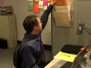 Concupiscent office gays screwing booties in the office